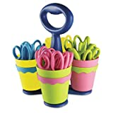 School Scissors Caddy w/24 Pairs of Kids' Scissors w/Microban, 5'' Pointed