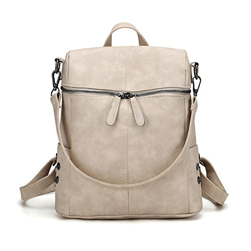 Handbag Beige Soft Backpack Shoulder Purse Rucksack Women Bag PU Ladies Fashion Leather avPfP