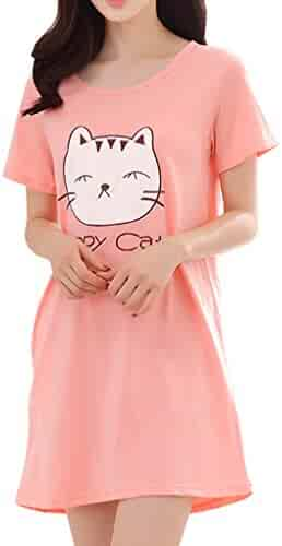 f6c80ca781 Vopmocld Big Girls  Cute Happy Cat Sleepwear Short Sleeve Summer Soft  Nightgown