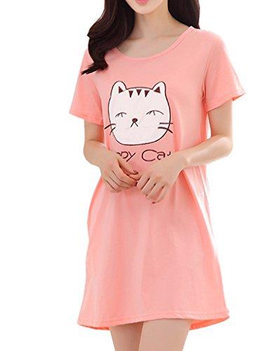Vopmocld Big Girls Cute Happy Cat Sleepwear Short Sleeve Summer Soft Nightgown