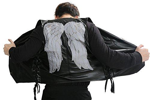 Xcoser Daryl Dixon Vest PU Leather Wings Pattern Black Mens Fashion Sleeveless Jacket S]()