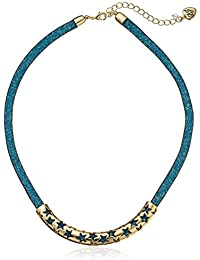 """""""Confetti"""" Star Faceted Stone Filled Mesh Collar Necklace"""