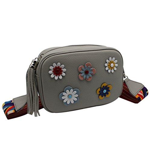 femme Sac Gris pochette bandoulière et sac bandoulière Vimoda pochette Kélia été petit pochette fleurs w65xOavaqX