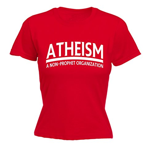 Atheism Fitted T-shirt (123t Women's Atheism A Non-Prophet Organisation Funny Joke Offensive Humour FITTED T-SHIRT)