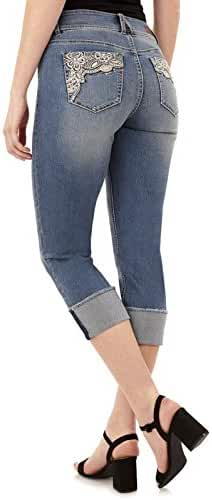 Angels Women's Curvy Embellished Cropped Jeans