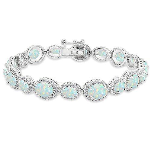 Opal Oval Bracelets (Sterling Silver Simulated Opal & White Topaz Oval Halo Statement Bracelet)