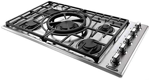 "Capital Maestro Series MCT365GS-N 36"" Natural Gas Cooktop with 5 Sealed Burners Indicator Lights Reversible Central Wok Grate and Electronic Ignition/Re-ignition in Stainless"