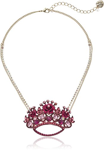- Betsey Johnson Roses Pink Crown Pendant Necklace