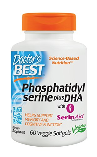 Doctor's Best Phosphatidyl Serine plus DHA with SerinAid, Vegan, Gluten Free, Memory Support, 60 Veggie Softgels by Doctor's Best