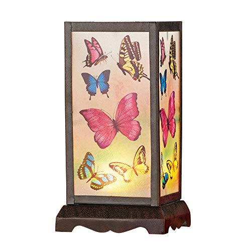 Collections Etc Antique Butterfly Translucent Panel Lamp with Remote Control - Tabletop Decorative Accent for Mantel or Bedside Table