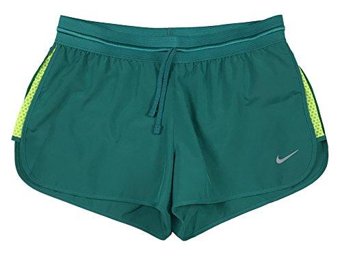 Nike Womens Dri-Fit Run Fast Running Shorts (Jade/Volt, Large)