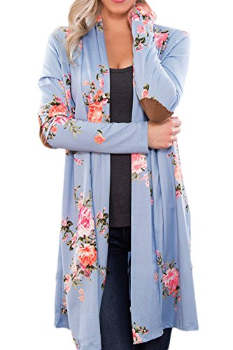 For G and PL Womens Spring Cotton Floral Elbow Patches Long Sleeve Cover Up Open Front Beach Kimono Cardigan Light Blue M (Floral Spring Cotton)