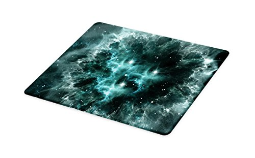 Lunarable Outer Space Cutting Board, Space Nebula in The Space with Crystal Star Cluster Galaxy Solar System Cosmos Print, Decorative Tempered Glass Cutting and Serving Board, Large Size, Teal by Lunarable