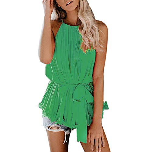 - ♡ Londony ♡ Women's Casual Spaghetti Strap Button Front Tie Front V Neck Sleeveless Blouses Tank Tops Loose Shirts Green