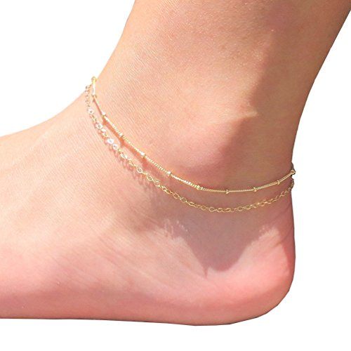 Fettero Double Layered Chain Anklet 14K Gold Filled Women Handmade Dainty Delicate Boho Beach Foot Ankle Bracelet -