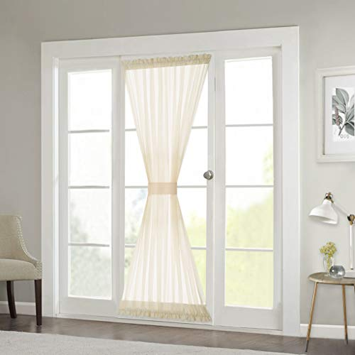 RYB HOME Sheer Curtains for Sidelight Windows - Decorating Privacy Voile for Balcony Doors Farmhouse Cabin Patio Door Shades, 1 Rope, 1 Panel, 60 inches Width x 72 inches Length, Beige from RYB HOME