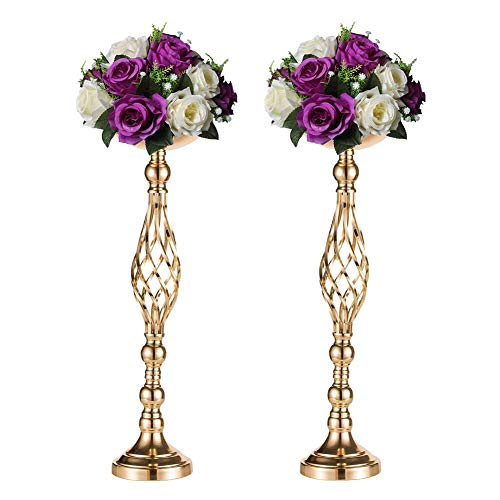 Sziqiqi 2 Pcs/Set Metal Flower Vase, Wedding/Party Flowers Centerpieces Table, Tall Candle Holder Pillar Candle, Restaurant Hotel Decorations (59CM ×2)