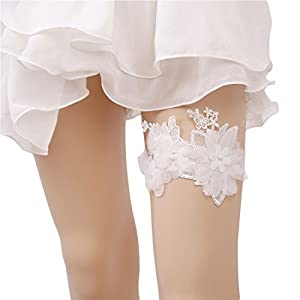 Slocyclub Women's Retro Off White Bloom Lace Band Wedding Garter