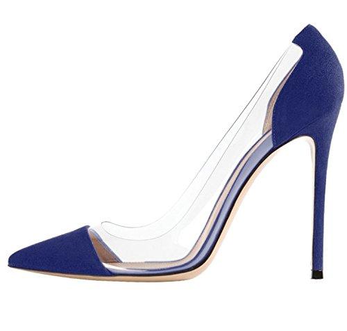 eleganti Blue Tacco Scarpe alto Scarpe con Medio Eleganti Heels Scarpe ScarpeWild Lavoro Ruanlei is donna cashmere Lavoro a ed tacco Wedding High for xRFwq6qgf