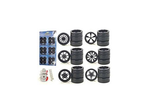 Diecast 2004B Custom Wheels for 1-18 Scale Cars & Trucks 24 Piece Wheels & Tires (Custom Cars And Trucks)