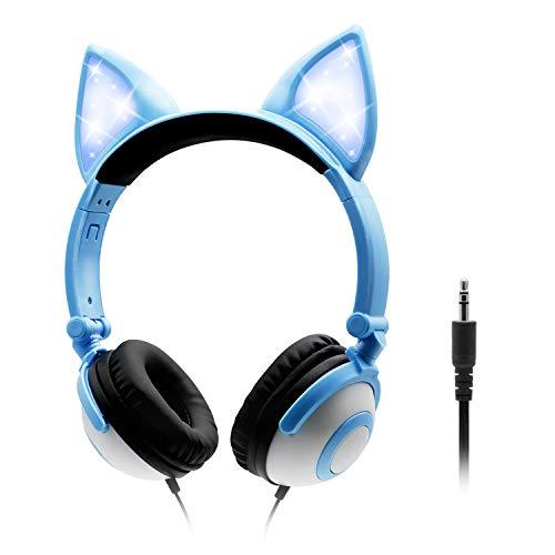 ONTA Hoofdtelefoon kinderen met schattige LED lichtgevende kattenoren 85dB volume beperkt opvouwbaar verstelbare On Ear…