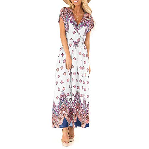 Rexinte Women Summer V Neck Dress Print Beach Long Dresses Bohemian Party Shirred Dresses(White,XL