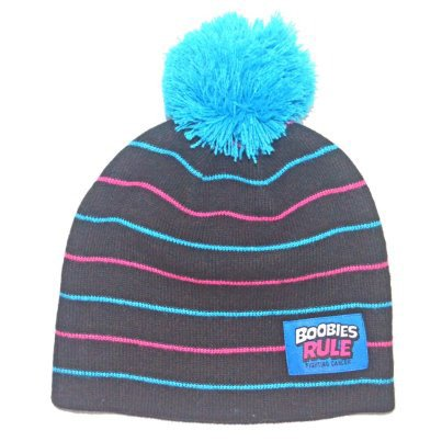 Image Unavailable. Image not available for. Color  Boobies Rule Black with  Blue and Pink Stripes Beanie with Pom Pom 07822820b80