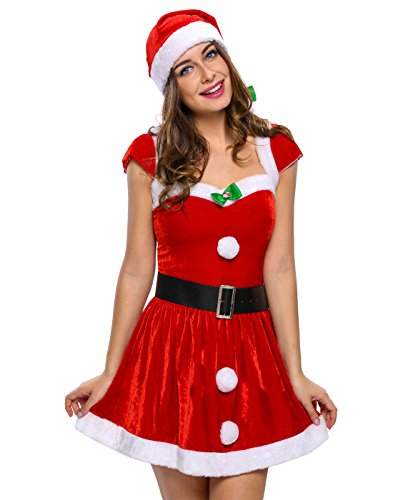 Cheap Mrs Claus Costumes (Christmas Costumes for Women Mrs Santa Claus Cosplay Dancy Outfit Red ( M ))