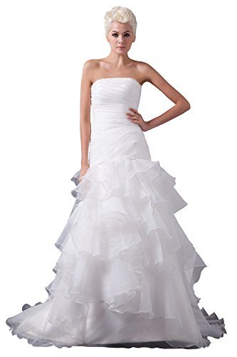 VogueZone009 Womens Strapless Pongee Satin Wedding Dress with Drape, ColorCards, 16 by VogueZone009