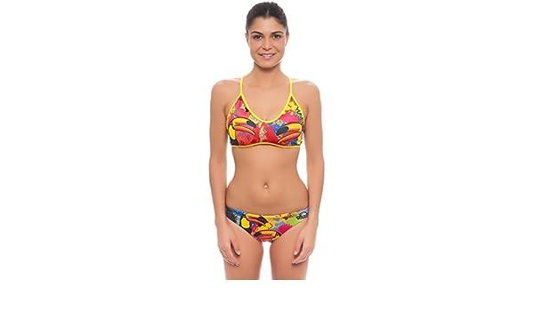 Bikini de natación TURBO Tucan Thin Strap para sportlerinnen Triatlón, orange gelb bunt, medium: Amazon.es: Deportes y aire libre