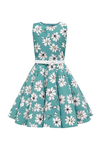 Black Butterfly Clothing BlackButterfly Kids 'Audrey' Vintage Daisy 50's Girls Dress (Turquoise, 13-14 yrs)