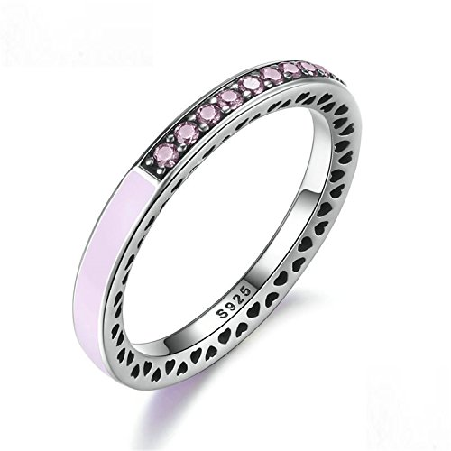 - Sterling Hearts Light Pink Enamel Clear Finger Ring Women Jewelry Pa7605 9