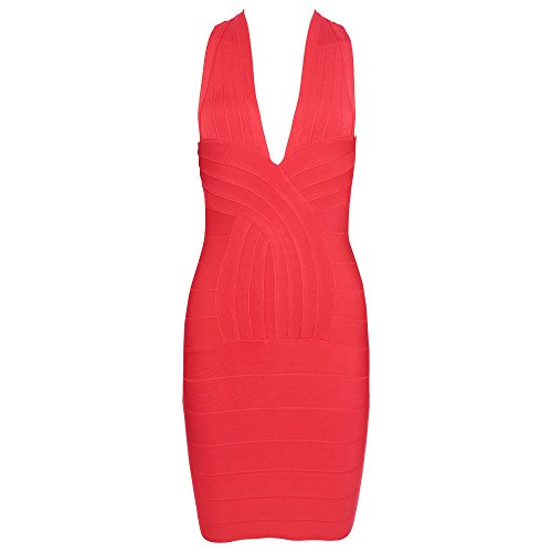 Mini Rojo V Neck Bandage Crossed Hlbandage Halter Deep Dress 8TXqfwOpzO