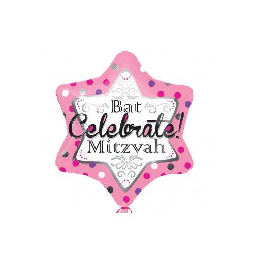 Pink Bar Bat (Anagram International Bat Mitzvah Pink Jr. Shape Balloon, 21