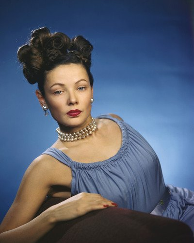 Gene Tierney gorgeous hair up with beads in blue dress 16x20 Poster