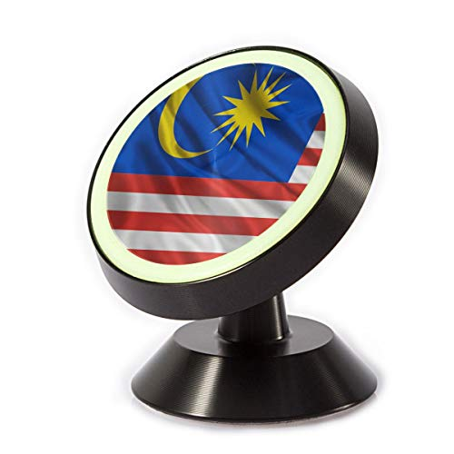 X-JUSEN Malaysia Flag Dashboard Magnetic Car Phone Mount Holder, Deluxe Car Mobile Bracket, 360 Rotation Car Phone Holder for Dashboard Cell Phone Cradle Mount (Best Car Lock Malaysia)