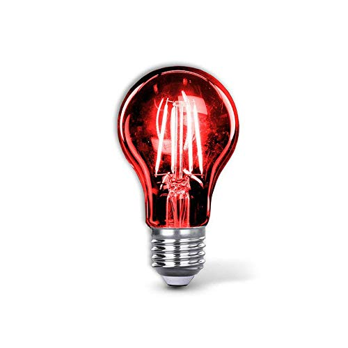 Red Led Light Bulb A19 3.5 Watt E26 Medium Base 27,000 Hour Lifespan Clear Glass Lights up Red Saving Energy Dimmable (Red)