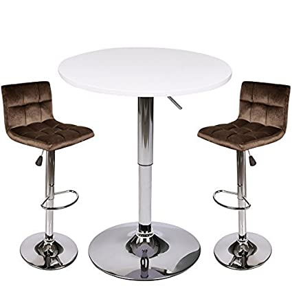 Amazon Com 3 Piece Bar Table Stools Set Height Adjustable Table