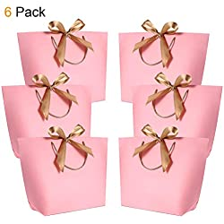"Gift Bags with Handles - WantGor 14.17x10.24x4.33"" Paper Party Favor Bag with Bow Ribbon for Birthday Wedding Celebration Present (Pink, Extra Large- 6 Pack)"