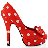 Show Story Red Two Tone Spot Polka Dots Bow Stiletto Platform High Heel Pump,LF30406RD40,9US,Red