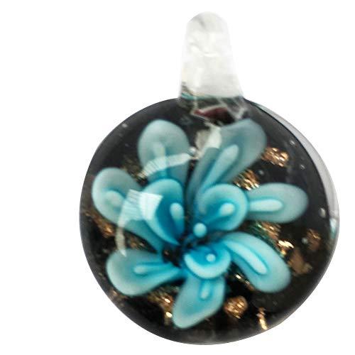 Jewelry58718 Fashion Lampwork Glass Round Flower Pendant Bead (Sky Blue C7433)