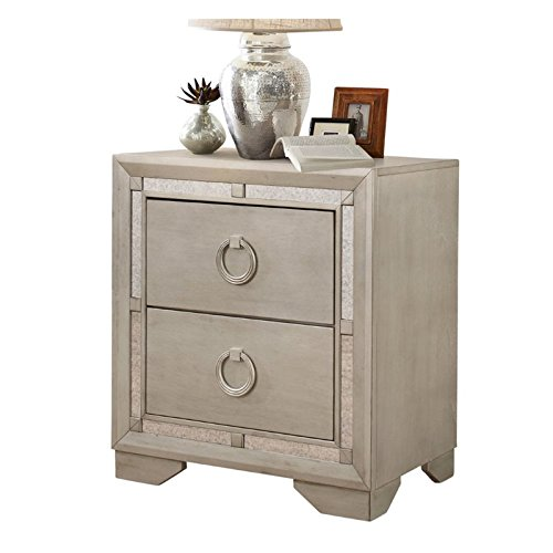 abbyson living grayson mirrored 2 drawer nightstand in gray