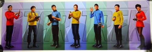 Star Trek OS Poster of Scotty Chekov McCoy Kirk Spock Sulu Uhura 36 x 12 inches