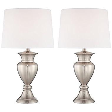 Roslyn Set of 2 Brushed Steel Metal Table Lamps