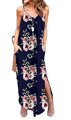 Sleeveless Strappy Cami Maxi Long Dress V Neck with Pockets Casual Summer Beach Skirt Cover Up Backless Side Slits Loose Solid Color for Women Blue Print XXL]()
