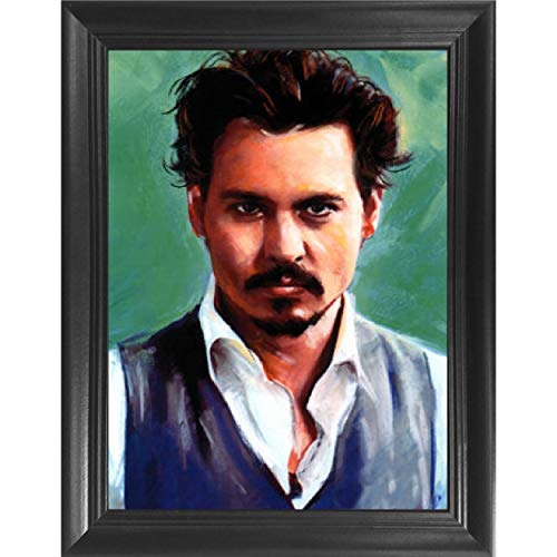 (Johnny Depp Actor 3D Poster Wall Art Decor Framed Print | 14.5x18.5 | Lenticular Posters & Pictures | Memorabilia Gifts for Guys & Girls Bedroom | Sweeney Todd Movies & Celebrity Fan Picture Artwork )