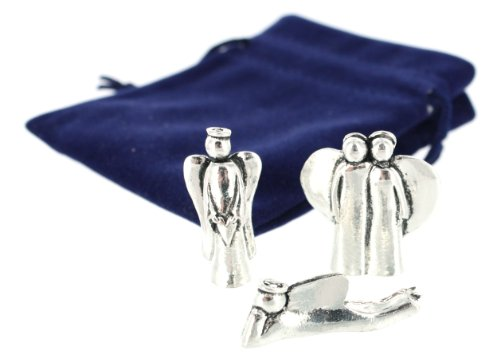 Mini Pewter Angel Figurine 3 pc Set w/ Velveteen Pouch
