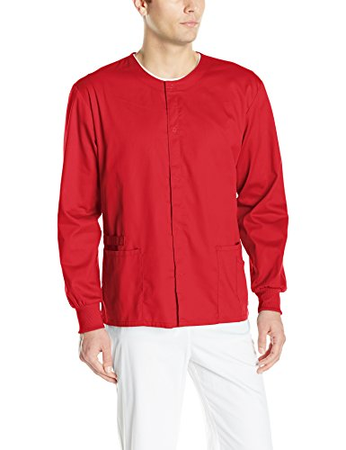 (Cherokee Men's Ww Flex with Certainty Unisex Snap Front Warm-up Jacket, Red, Large)