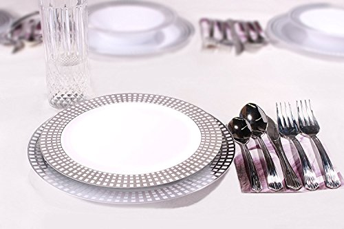 Signature Collection Premium China Like White/silver 40 Pieces Plastic Plates Package, Wedding and Party Dinnerware (Includes 20 7.5 Inch Plates, 20 10.25 Inch (Collection 40 Piece Dinnerware)