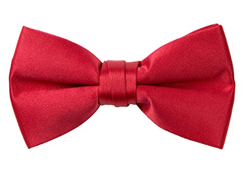 Red Satin Bow Tie (Spring Notion Boys' Pre-tied Banded Satin Bow Tie Large True Red)